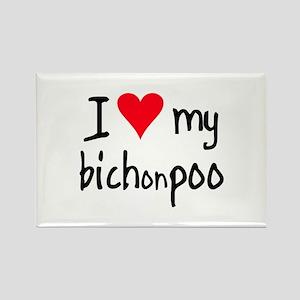 I LOVE MY Bichonpoo Rectangle Magnet