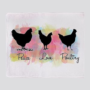 Peace Love And Poultry Throw Blanket