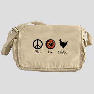 Peace Love And Chickens Messenger Bag