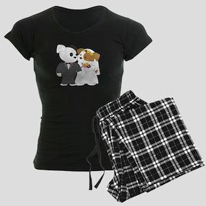 Cute Puppy Marriage Women's Dark Pajamas