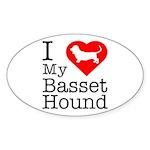 I Love My Basset Hound Sticker (Oval 10 pk)