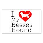 I Love My Basset Hound Sticker (Rectangle 10 pk)