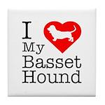 I Love My Basset Hound Tile Coaster