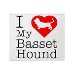 I Love My Basset Hound Throw Blanket