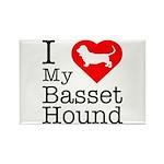 I Love My Basset Hound Rectangle Magnet (100 pack)