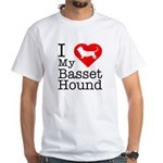 I Love My Basset Hound White T-Shirt