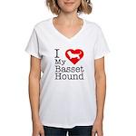 I Love My Basset Hound Women's V-Neck T-Shirt