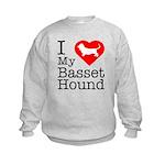 I Love My Basset Hound Kids Sweatshirt