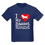I Love My Basset Hound Kids Dark T-Shirt