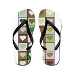 Army colors hearts pattern Flip Flops