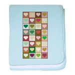 Army colors hearts pattern baby blanket