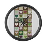 Army colors hearts pattern Large Wall Clock