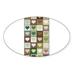 Army colors hearts pattern Sticker (Oval 50 pk)