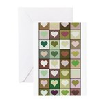 Army colors hearts pattern Greeting Cards (Pk of 2