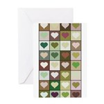 Army colors hearts pattern Greeting Card