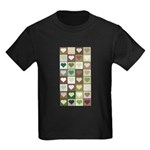 Army colors hearts pattern Kids Dark T-Shirt