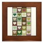 Army colors hearts pattern Framed Tile
