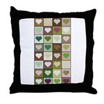 Army colors hearts pattern Throw Pillow
