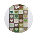 Army colors hearts pattern Ornament (Round)