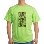 Army colors hearts pattern Green T-Shirt