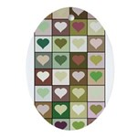 Army colors hearts pattern Ornament (Oval)