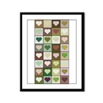 Army colors hearts pattern Framed Panel Print