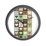 Army colors hearts pattern Wall Clock