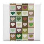 Army colors hearts pattern Tile Coaster
