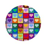 Rainbow Heart Squares Pattern Ornament (Round)