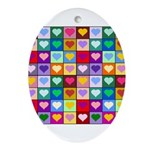 Rainbow Heart Squares Pattern Ornament (Oval)