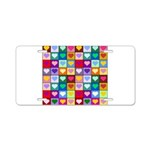 Rainbow Heart Squares Pattern Aluminum License Pla