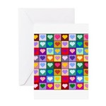 Rainbow Heart Squares Pattern Greeting Card