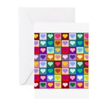 Rainbow Heart Squares Pattern Greeting Cards (Pk o