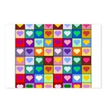 Rainbow Heart Squares Pattern Postcards (Package o