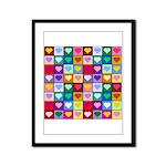 Rainbow Heart Squares Pattern Framed Panel Print