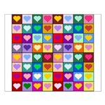 Rainbow Heart Squares Pattern Small Poster
