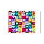 Rainbow Heart Squares Pattern 22x14 Wall Peel