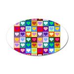 Rainbow Heart Squares Pattern 22x14 Oval Wall Peel