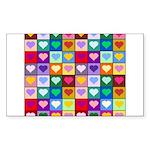 Rainbow Heart Squares Pattern Sticker (Rectangle 5