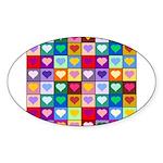 Rainbow Heart Squares Pattern Sticker (Oval 50 pk)