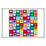 Rainbow Heart Squares Pattern Banner