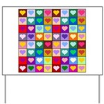 Rainbow Heart Squares Pattern Yard Sign