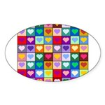 Rainbow Heart Squares Pattern Sticker (Oval)