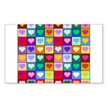 Rainbow Heart Squares Pattern Sticker (Rectangle)