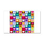 Rainbow Heart Squares Pattern Car Magnet 20 x 12