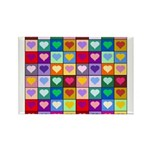 Rainbow Heart Squares Pattern Rectangle Magnet