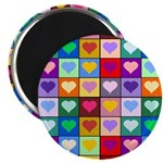 Rainbow Heart Squares Pattern Magnet