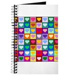Rainbow Heart Squares Pattern Journal