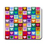 Rainbow Heart Squares Pattern Mousepad