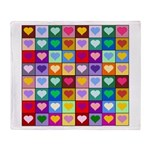 Rainbow Heart Squares Pattern Throw Blanket